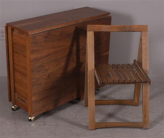 MID CENTURY WALNUT DROP LEAF CARD TABLE WITH 3 TUCK AWAY FOLDING CHAIRS, 34