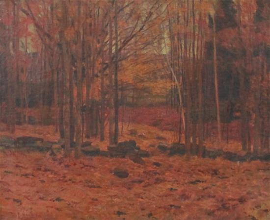 EDWARD P. HAYDEN (AMERICAN 1858-1922) OIL ON CANVAS AUTUMN WOODED LANDSCAPE, SIGNED LOWER LEFT E.P. HAYDEN DATED 1907, WITH HEAVY OR...