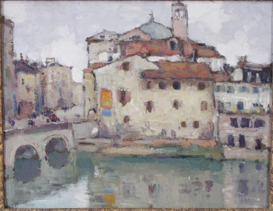 UNSIGNED GEORGE ELMER BROWNE (AMERICAN, 1871-1946) OIL ON BOARD LANDSCAPE IN FLORENCE WITH GALLERY PAPER LABEL ON BACK, OVERALL SIZE...