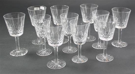 11 WATERFORD LISMORE CRYSTAL WINES, 2 SIZES 5.5
