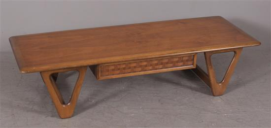 MID CENTURY MODERN LANE MAHOGANY COFFEE TABLE WITH DRAWER, 56