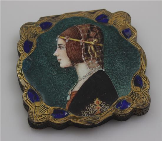 GOLDTONE 800 SILVER ENAMEL DECORATED COMPACT WITH PORTRAIT OF WOMAN, 3