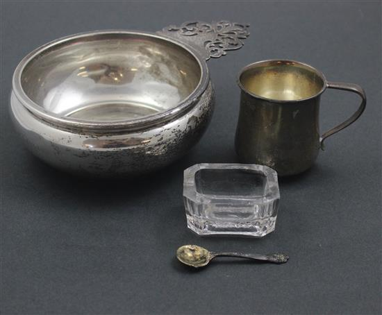 3 PIECES STERLING SILVER INCLUDING PORRINGER CUP, BABY CUP, AND SALT DIP SPOON WITH GLASS SALT DISH, 6.25 TROY OZ NOT INCLUDING GLASS