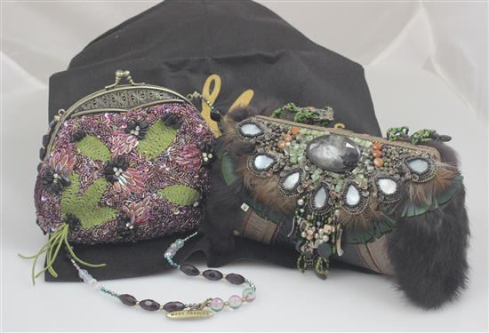 2 MARY FRANCES HANDBAGS INCLUDING FUR TRIMMED AND PURPLE WITH OVER THE SHOULDER STRAP, 4 1/2