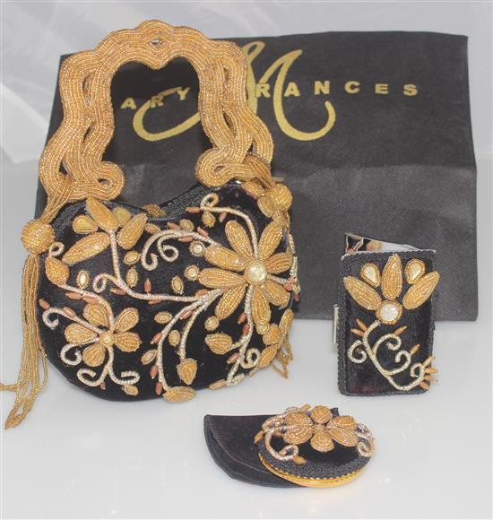MARY FRANCES HANDBAG BLACK VELVET WITH GOLD BEADING WITH MATCHING CARD CASE AND PURSE MIRROR, OVERALL SIZE OF PURSE 9 1/2