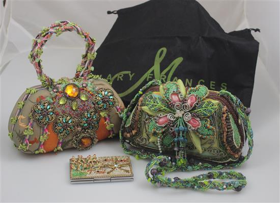 2 MARY FRANCES HANDBAGS INCLUDING RIBBON AND JEWELED DESIGN AND FLORAL WITH OVER THE SHOULDER STRAP. ALSO UNDERWATER MOTIF CARD CASE...