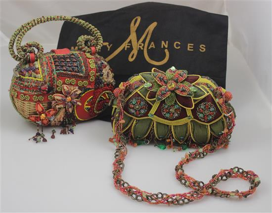 2 MARY FRANCES HANDBAGS INCLUDING LOTUS DESIGN WITH OVER THE SHOULDER STRAP AND FLOWER WITH LADYBUG, 5