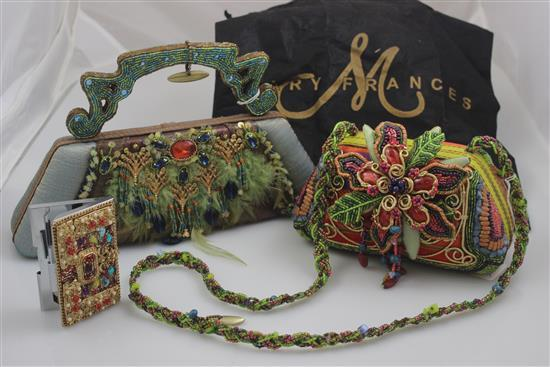 2 MARY FRANCES HANDBAGS INCLUDING FEATHER ACCENTED AND FLORAL DESIGN WITH OVER THE SHOULDER STRAP, AND CARD CASE, PURSES 5 1/2