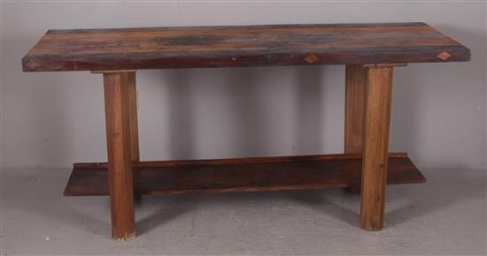 COUNTRY WALNUT AND MAPLE WORKBENCH/ISLAND, 27