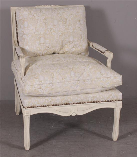 FRENCH STYLE OPEN ARM CHAIR PAINTED WHITE WITH NAILHEAD TRIM, 28