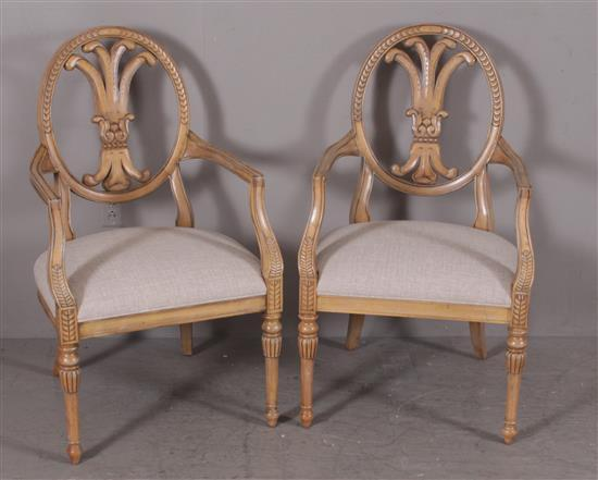 PAIR FRENCH STYLE OPEN ARM CHAIRS WITH LINEN UPHOLSTERY, 41