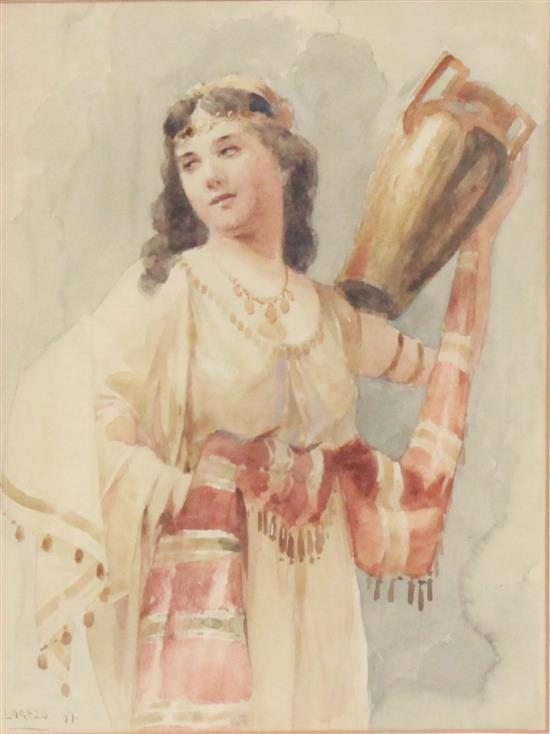 SIGNED LOREZO WATERCOLOR WOMAN WITH WATER JUG, SIGNED LOWER LEFT DATED 1899, OVERALL SIZE 12.5