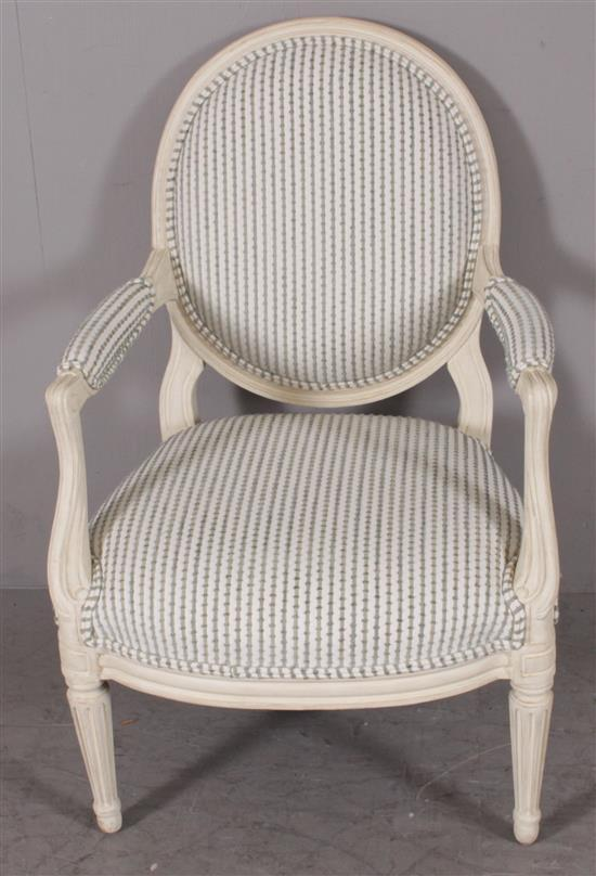 FRENCH STYLE OPEN ARM CHAIR PAINTED WHITE WITH GREEN STRIPED UPHOLSTERY, 37