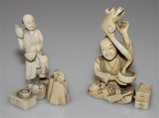 2 CARVED IVORY ASIAN FIGURES WITH CLAMS AND EEL, 2 1/2