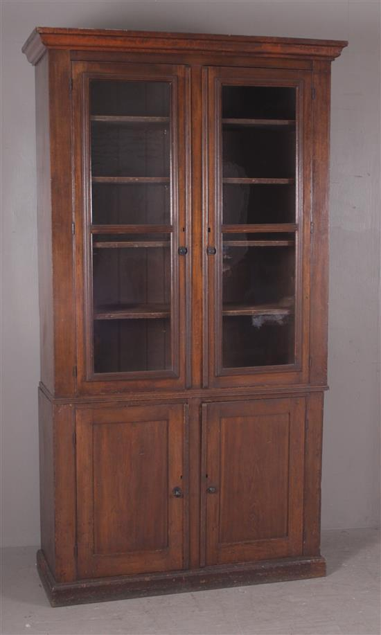 TWO-PIECE CUPBOARD WITH WALNUT FINISH AND GLASS DOORS ON TOP, 53