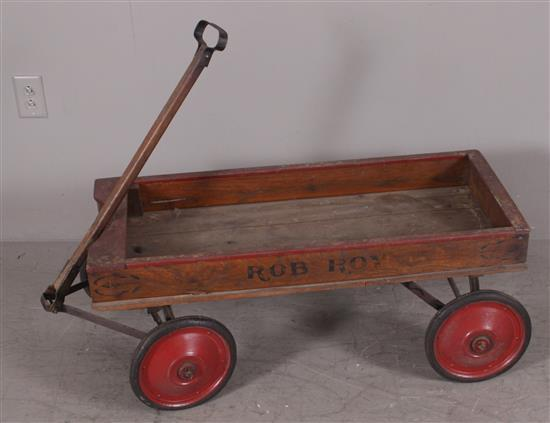 WOODEN 1930s RED WAGON WITH