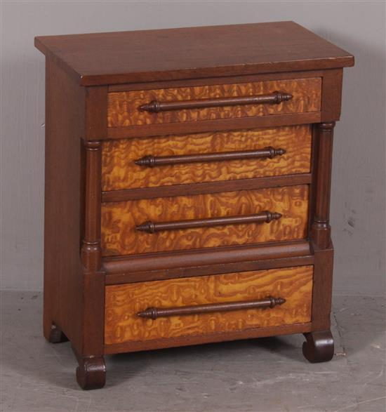 WALNUT EMPIRE STYLE MINIATURE CHEST WITH BURLED CHESTNUT DRAWER FRONTS, 16