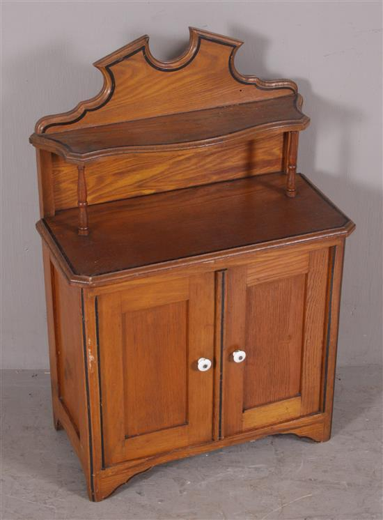 CHILD'S SIZE OAK SIDEBOARD WITH STENCILING, MISSING MIRROR, 20