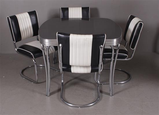 1950s STYLE CHROME DINETTE SET WITH 4 BLACK AND WHITE CHAIRS AND 18