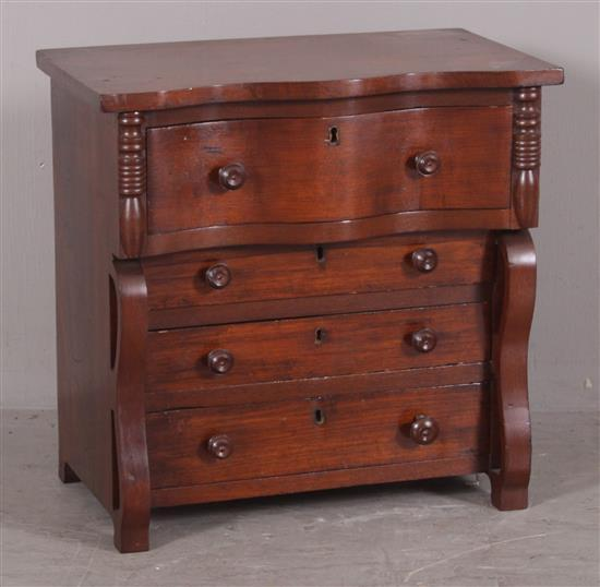MAHOGANY MINIATURE EMPIRE 4-DRAWER CHEST WITH SERPENTINE TOP, 18