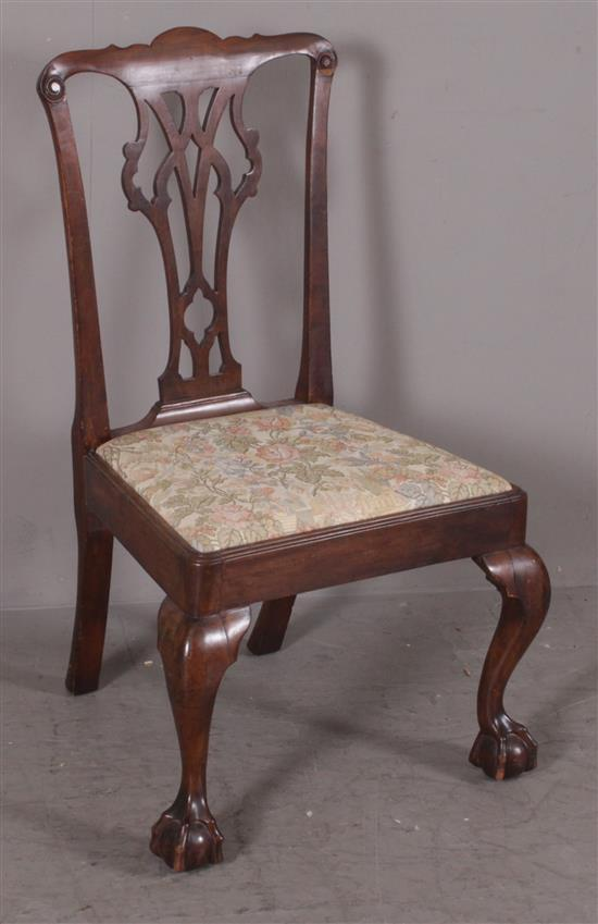CHIPPENDALE DINING CHAIR WITH BALL AND CLAW FEET AND TAPESTRY STYLE UPHOLSTERY, 38