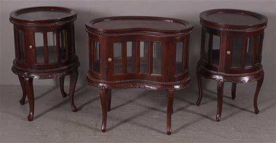 3 CUSTOM MAHOGANY CABINET STYLE TABLES INCLUDING PAIR END TABLES AND KIDNEY SHAPED TABLE (29