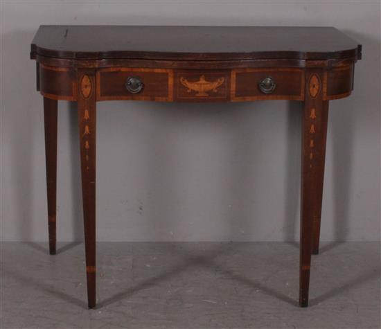 MAHOGANY SERPENTINE FRONT CARD TABLE WITH INLAY, OPENS TO DINING ROOM EXTENSION TABLE, NO LEAVES 38