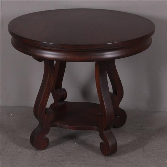 MAHOGANY ROUND EMPIRE TABLE, 34