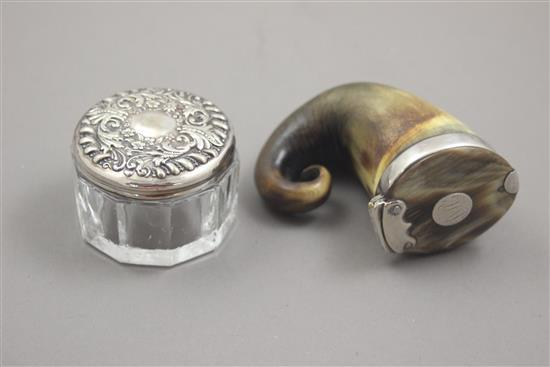 GLASS DRESSER JAR WITH STERLING SILVER LID AND CARVED HORN SNUFF MULL WITH LID AND MONOGRAM, 2