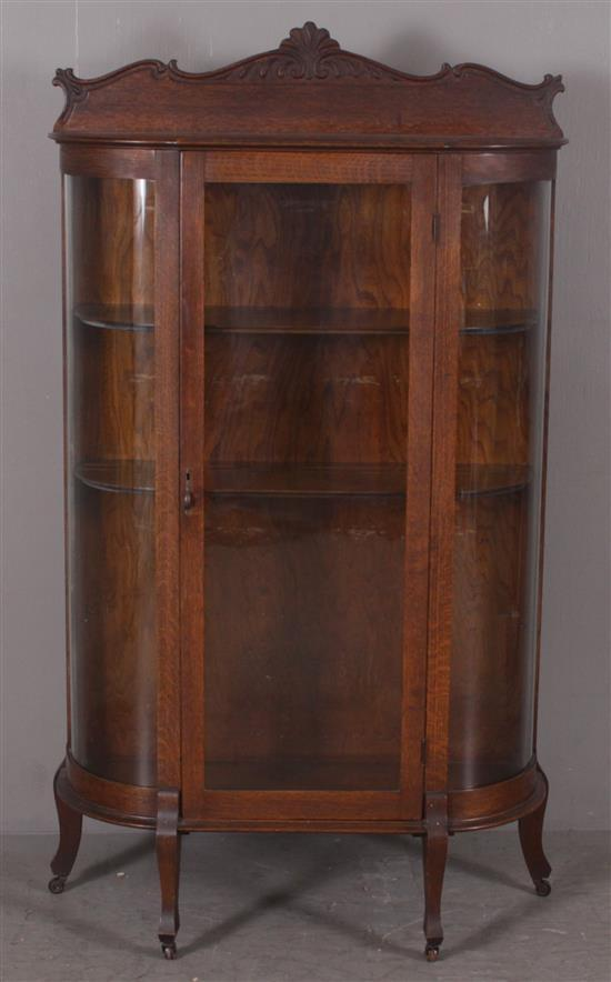 OAK CURVED GLASS CHINA CABINET WITH 2 ADJUSTABLE SHELVES, 36