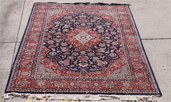 ORIENTAL RUG, BLUE WITH RED TRIM, 6.6' X 9.7'