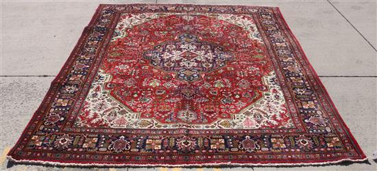 ORIENTAL RUG, SEMI ANTIQUE PERSIAN TABRIZ 10' x 12.6'