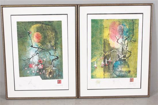 2 LEBADANG (FRENCH, VIETNAMESE 1922-2015) SERIGRAPHS FLORAL STILL LIFES, PENCIL SIGNED LOWER RIGHT AND NUMBERED WITH REMARQUE AND IN...