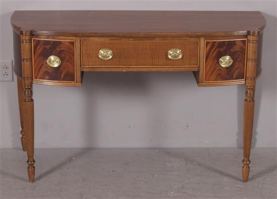 MAHOGANY SHERATON STYLE BOW FRONT DESK WITH CURLY MAPLE DRAWER FRONTS, 50