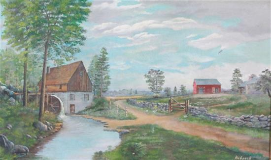 VIE GROCK OIL ON CANVAS LANDSCAPE WITH MILL, SIGNED LOWER RIGHT, OVERALL SIZE 28 3/4