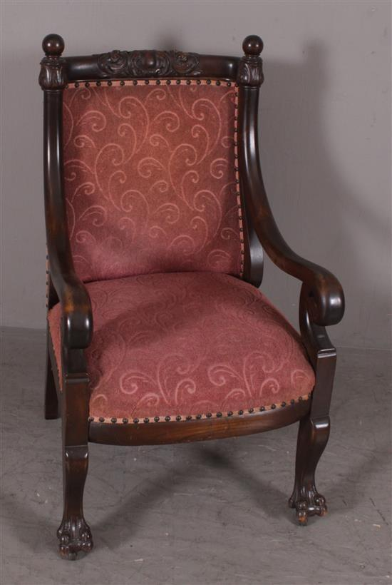 VICTORIAN OPEN ARM CHAIR WITH BALL FINIALS AND CLAW FEET, 38