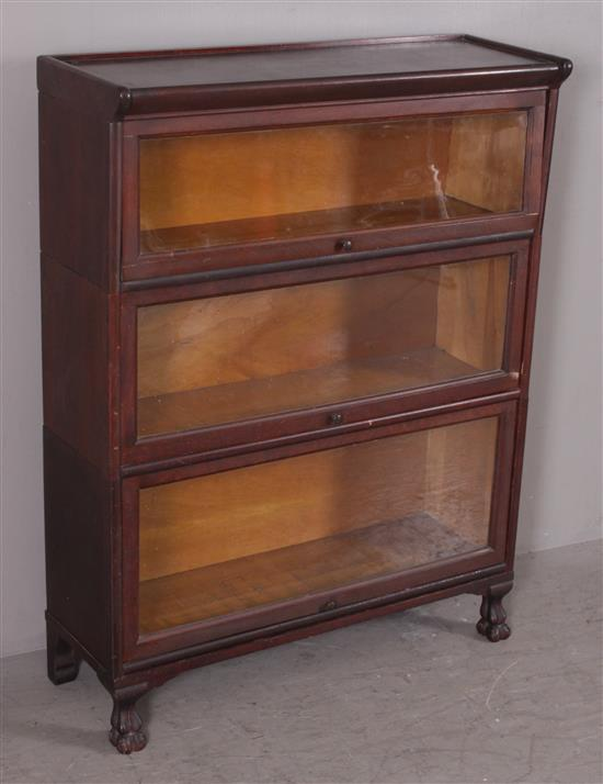 3-SECTION MAHOGANY BARRISTER BOOKCASE WITH PAW FEET, 34