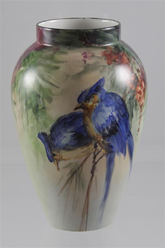 LIMOGES HAND PAINTED VASE WITH FLOWERS AND BLUE BIRDS, 9