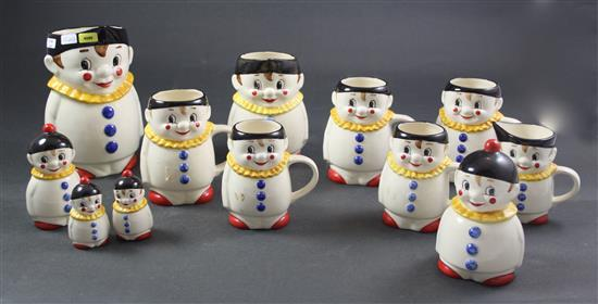 12 PIECE GOEBEL CLOWN BEVERAGE SET, PITCHER 7.5