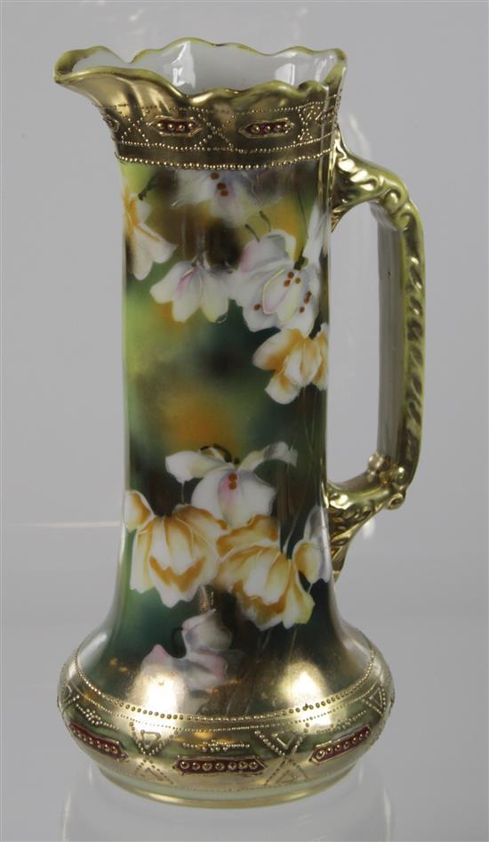 NIPPON HAND PAINTED EWER WITH FLORAL AND GOLD DECORATION, 10