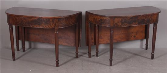 PAIR CHERRY AND MAHOGANY SHERATON BANQUET TABLES, 45