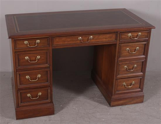 SLIGH KNEEHOLE DESK WITH LEATHER INSERT TOP, 46