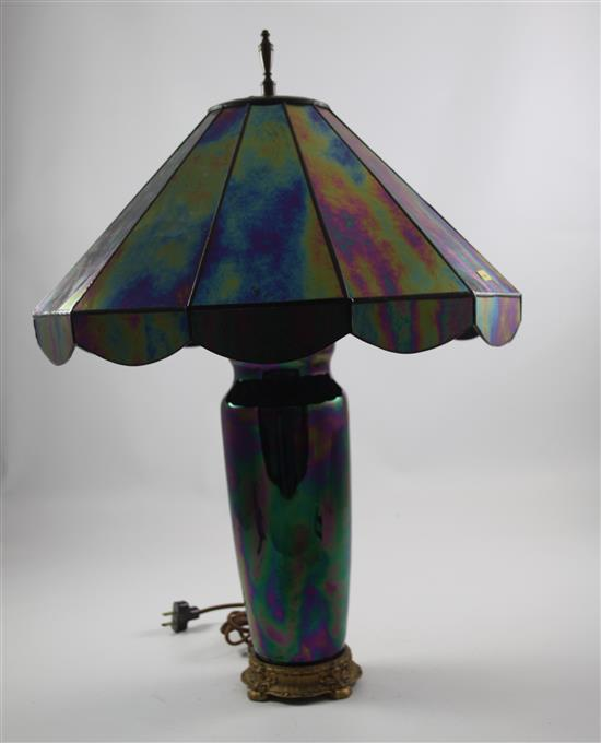 IRIDIZED AMETHYST AND GREEN TABLE LAMP WITH MATCHING SHADE, 24