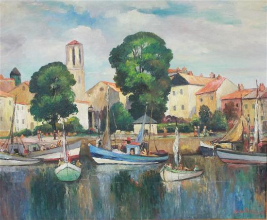 SISTER MATILDA (AKRON, OH 1887-1980) OIL ON CANVAS EUROPEAN FISHING VILLAGE, SIGNED LOWER RIGHT, OVERALL SIZE 33 1/2