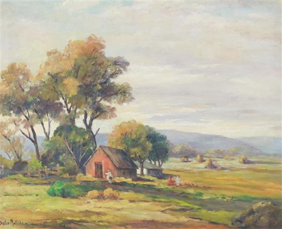 SISTER MATILDA (AKRON, OH 1887-1980) OIL ON CANVAS FARM LANDSCAPE WITH CHILDREN PLAYING, SIGNED LOWER LEFT, OVERALL SIZE 29 1/4