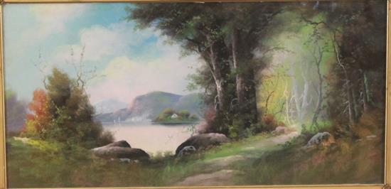 WILLIAM HENRY CHANDLER (AMERICAN 1854-1928) PASTEL LAKE LANDSCAPE WITH COTTAGE AND BOATS, SIGNED LOWER LEFT, OVERALL SIZE 21