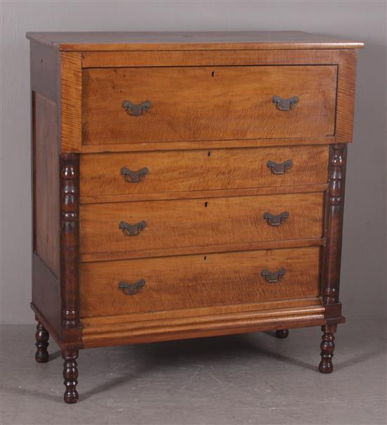 EMPIRE CHEST WITH TIGER MAPLE DRAWERS, 42 1/2