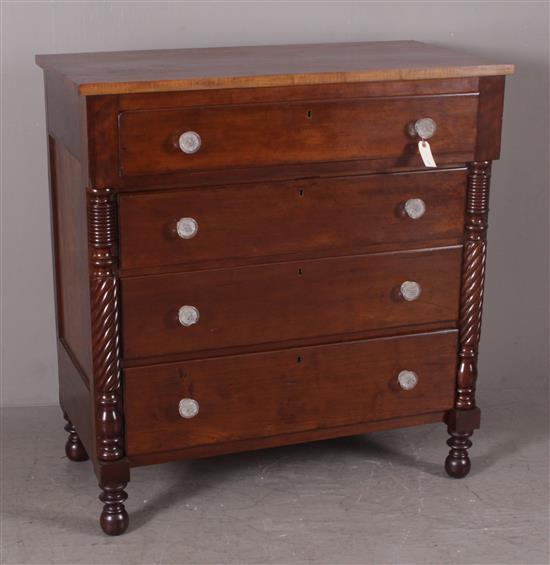 CHERRY EMPIRE CHEST, GLASS KNOBS, ROPE TURNED HALF PILASTERS, 43.5