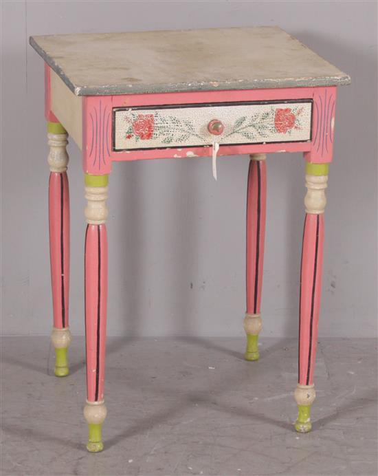 SHERATON ONE DRAWER STAND, PAINTED AND DECORATED, 20 3/4