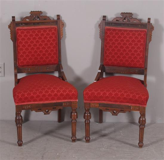 PAIR WALNUT EASTLAKE VICTORIAN SIDE CHAIRS WITH RED UPHOLSTERED SEATS AND BACKS, 37